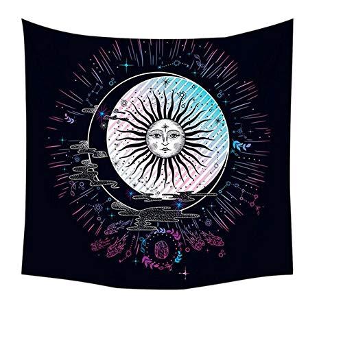 KHKJ Psicodélico Mandala Tapiz Colgante de Pared Sol Luna Estrella Manta de Picnic Accesorios de decoración del hogar Tapiz de Yoga Alfombra de Arte A6 95x73cm
