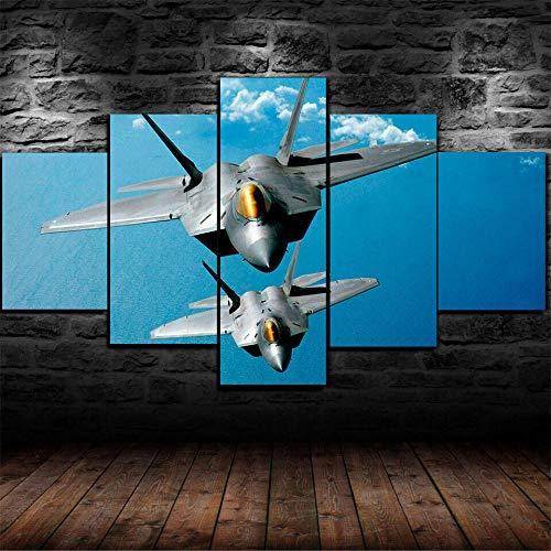 hgjfg Stampe E Quadri su Tela 5 Pezzi Pittura Lockheed Martin F-22 Raptor Fighter Modulare per Camera da Letto Moderna Soggiorno Parete Casa HD Murale da Parete Casa Decor Arte