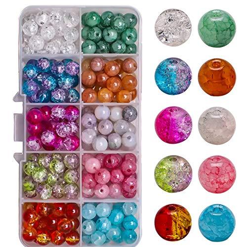 ZIUKENR Natural Round Stone Beads, 8MM Glass Broken Jade Beads Pop Flower Beads DIY Box Decorations Beaded Material Beads, 10 Grid Boxed Combination, 200 Pcs