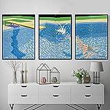 JRLDMD Exposición de David Hockney Cuadros Antiguos Piscina Tabla de Buceo Splash Lienzo Cuadro Cuadros Mural Abstractos Sala de Estar Decoración del hogar 50x70cmx3 Sin Marco
