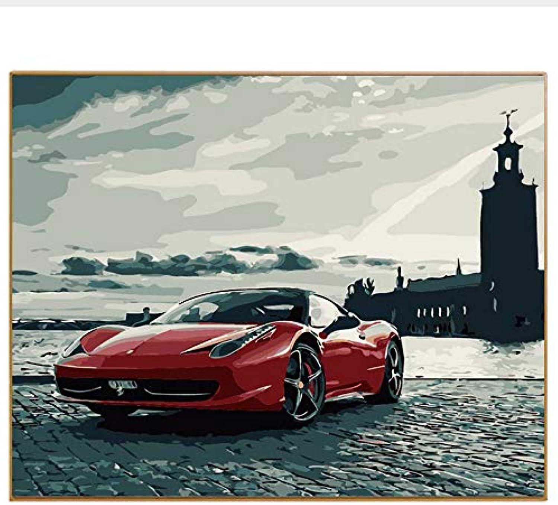 CZYYOU DIY, Sportwagen, Landschaftsbild, Malen Nach Zahlen Malen Und Kalligraphie Digital coloring by Numbers Auf Leinwand, Mit Rahmen, 50x60cm