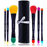 SHANY LUNA 6 PC Double Sided Travel Brush Set with Pouch - Synthetic