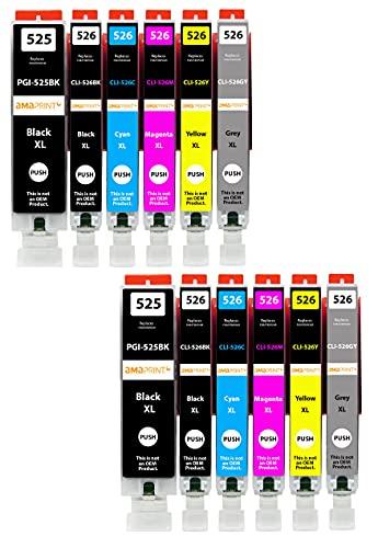 Amaprint 12 XL Cartuchos Compatible con Canon PGI 525 CLI 526 para Pixma MG6150 MG6250 MG8150 MG8240 MG8250