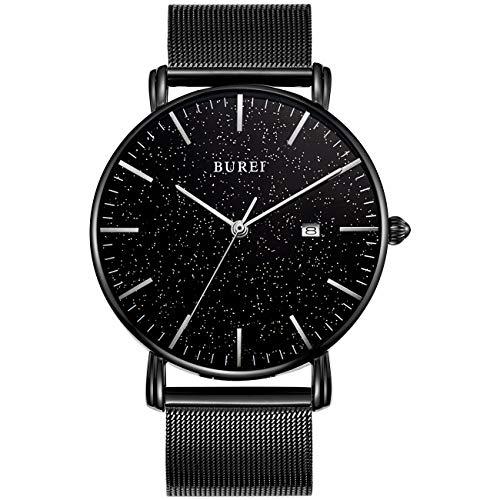 BUREI Herren Quarzuhr Ultra Thin Minimalist Classic All Schwarzes Damen Armbanduhr Kalender Datumsanzeige mit Edelstahl Mesh Armband