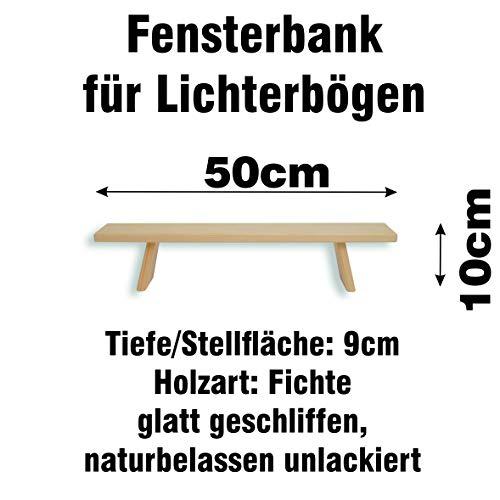 exclusiv Holzkunst Schwibbogen Bank Fichte 50 cm, Fensterbank für Lichterbögen