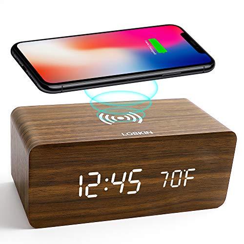 LOBKIN Cargador inalámbrico de Reloj Despertador Digital de Madera, Pantalla LED de Fecha y Temperatura de Tiempo, 3 Relojes despertadores, radios, repetición de Dormitorio en casa