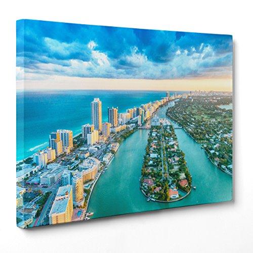 Quadro su Tela Canvas - INTELAIATO - Pronto da Appendere - Miami Beach - USA America Florida - 100x152cm - Senza Cornice - (cod.1673)