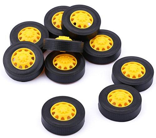 Yeeco 10 PCS Plastic Toy Car Tire Wheel, Mini Φ342mm Smart RC Car Robot Tyres Model Gear Parts with Convex Wheel Hub