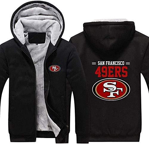 ZQN NFL Jersey, San Francisco 49ers para Hombre Sudaderas con Capucha, con Cremallera de Manga Larga Camisa de Entrenamiento de Invierno Caliente de Espesor, además de Terciopelo Outwear,Negro,XXL