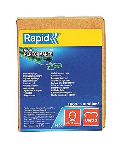 Rapid Zaun-Ringklammern VR22 Grün, 1.600 Stk., zur Befestigung von Spanndrähten und Zäunen, für FP222 un FP20 Zaunzange