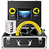 VEVOR 30m Cable Waterproof Pipe Inspection Camera 7' TFT Monitor 12led Ir Cam Pipe Pipeline Inspection Camera with Built-in Dvr and 8GB SD Card