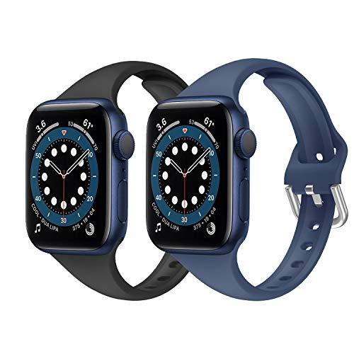 Songsier Correa Apple Watch, Correas Compatible con Apple Watch 38mm 40mm, Soft Silicone Sports Correa Suavede Deportiva Repuesto Compatible con Apple Watch SE/iwatch Serie 6 5 4 3 2 1