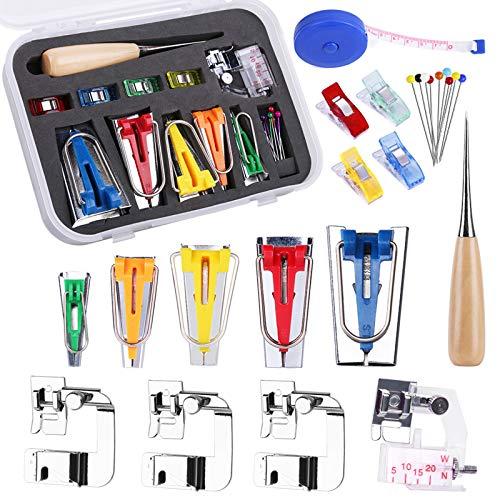 Kit de herramientas de cinta de bies con instrucciones, fabricante de cinta de bies de 5 tamaños con pie para máquina de coser, 4 piezas, pinzas de coser, pasadores de bolas para costura de tejido