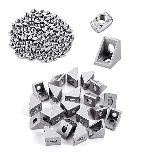 T-Nut Muttern M5 T Nutmuttern Nutenstein Winkel Hammerkopf Befestigungsmutter Sortiment Kit für Aluminium Profil mit 20 Stück Eckwinkel für 20x20 mm Aluminium Extrusion Aluschiene Verbinder Zubehör