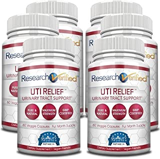Research Verified UTI Relief - #1 Urinary Tract Infection Support Supplement - 100% Natural, Vegan with Lingonberry, Cranberry & D-Mannose - 6 Bottles (6 Months Supply)