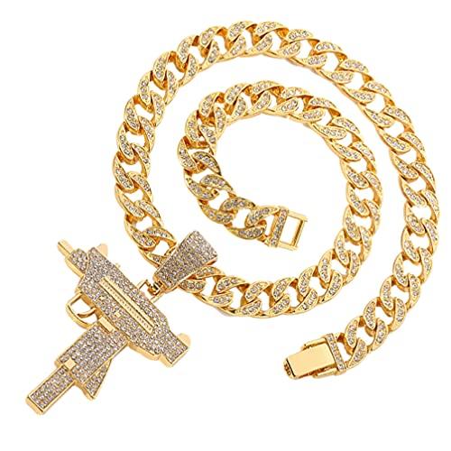 Holibanna Colgante de Diamantes de Imitación de Cristal para Hombre Collar de Cadena de Acero Inoxidable Hip Hop Regalo