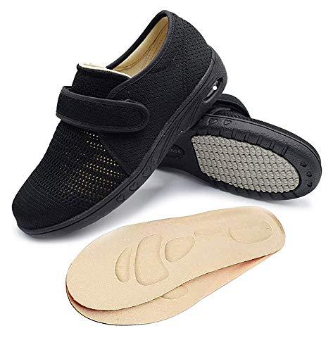 NA RYLHL Women's Diabetic Walking Shoes, Wide Width Adjustable Air Cushion Sneakers for Elderly Edema Arthritis Swollen Feet,Black,8.5