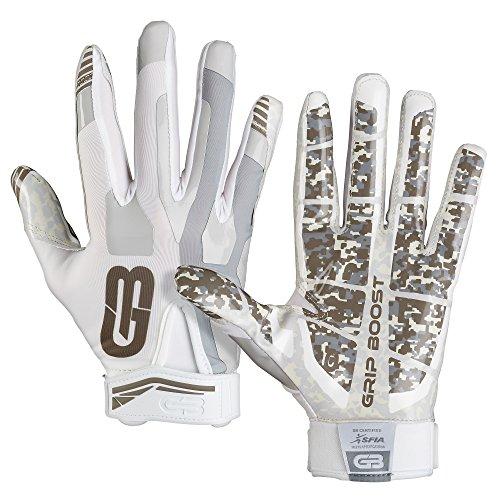 Grip Boost Stealth Football Gloves Pro Elite (White, Medium)