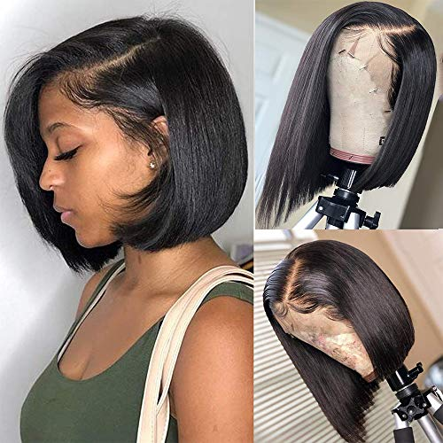 Abijale Hair Short Bob Wigs Straight Lace Front wigs Human Hair For Black Women Brazilian Virgin Hair Pre Plucked With Baby Hair Natural Hairline (10 inch, side part)