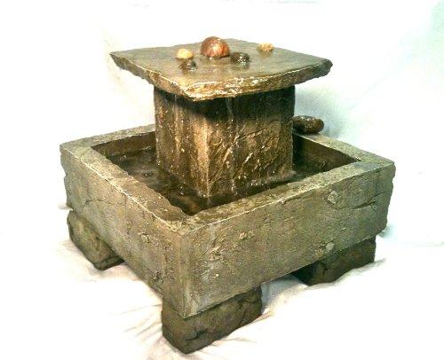 Garden Fountain, Cast Stone, Tuscan, Tier, Cascade Rock, Concrete, Patio & Outdoor, Rock Garden Water Feature
