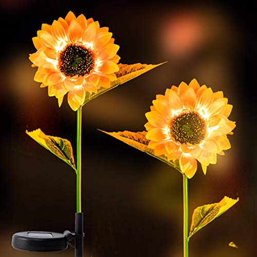 Apipi 2 Pack Solar Sunflower Lights- 31' Sunflower Garden Stake Lights Outdoor Solar Powered LED Light for Garden Patio Lawn Yard Porch Walkway Decoration