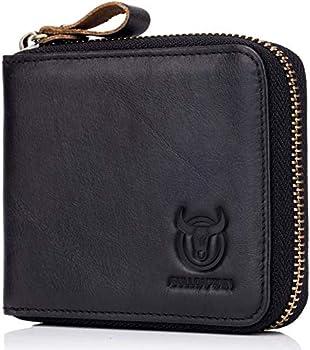 Men's RFID Blocking Wallets,Genuine Leather Short Zip-around Wallet for Men Cowhide Leather Zipper Credit Card ID Bifold Purse Card Holder  Black