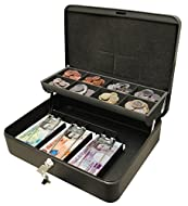 The cash box quite literally does what it says on the tin High quality powder coated steel cash box with easy carry handle Features eight section note and coin tray with sprung levers to keep notes in place The contoured foam on the inside lid preven...