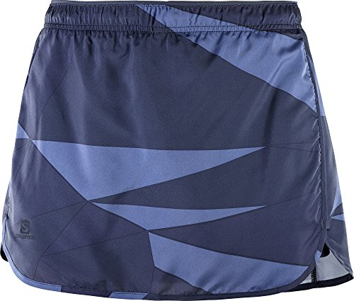SALOMON Mujer Falda pantalón para Running, Agile Skort, Tafetán, Azul (Night Sky/Graphite/Crown Blue), Talla: 2XL, L40129100