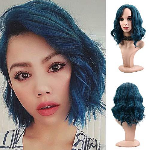 Royalvirgin Naturel doux Wave Bleu saphir Perruque résistant à la chaleur Fibre Synthétique Perruque carré 30,5 cm côté supplémentaire Bob Perruques pour les femmes