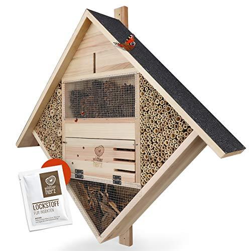 wildtier herz | NEUHEIT Profi Insektenhotel XXL - 85 x 82 cm Insektenhaus aus verschraubtem Massiv-Holz 100% Handarbeit mit Lockstoff Wild-Bienen Schmetterlinge & Co