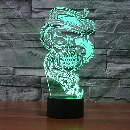 Yujzpl 3D-illusionslampa LED nattlampa, bästa julklappen 7 färger automatisk byte touch brytare skrivbord dekoration lampor födelsedagspresent, mysig och mycket vacker gotisk rök