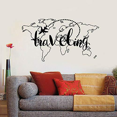 Blrpbc Pegatinas de Pared Adhesivos Pared Mapa del Mundo Mapa de Viaje...