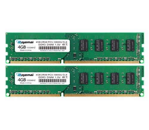DUOMEIQI 8GB DDR3 RAM Kit (2X4GB) PC3-10600 DDR3 1333 DDR3 Udimm 2RX8 1,5V CL9 Desktop Computer Arbeitsspeicher Memory Module für Intel AMD System