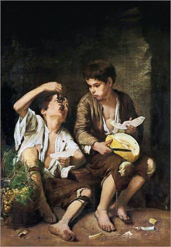 Póster 30 x 40 cm: Boys Eating Grapes and Melon de Bartolome Esteban Murillo/Everett Collection - impresión artística, Nuevo póster artístico