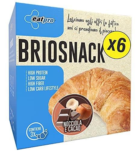 EatPro Briosnack  6 box x 3 Brioches da 60/45g  Nocciola e Cacao  1,1% Zuccheri, 25% Proteine  Brioche Proteica a Basso Contenuto di Carboidrati con pochi Zuccheri  Spuntini e Colazioni proteiche