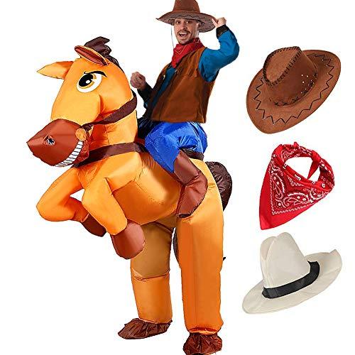 Tacobear Aufblasbare Pferdkostüm für Erwachsene Aufblasbare Karneval Fasching Kostüm Trag Mich Reiter Kostüm Aufblasbare Cowboy Kostüm für Herren mit Cowboy Hut und Cowboy Bandana (Cowboy)
