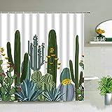 XCBN Tropische Palmblätter Grüne Pflanze Duschvorhänge Kaktus Löwenzahn Blumenszene Wasserdichter Vorhang Badezimmerdekore A1 150x180cm