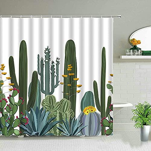 XCBN Tropische Palmblätter Grüne Pflanze Duschvorhänge Kaktus Löwenzahn Blumenszene Wasserdichter Vorhang Badezimmerdekore A1 180x200cm