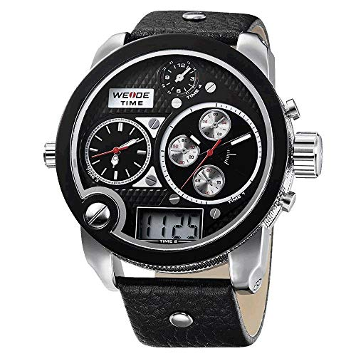 CursOnline Elegante reloj para hombre 2305 XXL extragrande triple tiempo analógico y digital de gran tamaño resistente al agua calendario correa de cuero genuino luz LED. Color completamente negro
