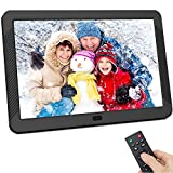 Digital Photo Frame 8 inch, Kenuo Digital Picture Frame with 1920x1080 IPS Screen Image Preview, Auto-Rotate, Remote Control, Video Calendar Clock Auto On/Off Timer, Support USB SD Card (128G)