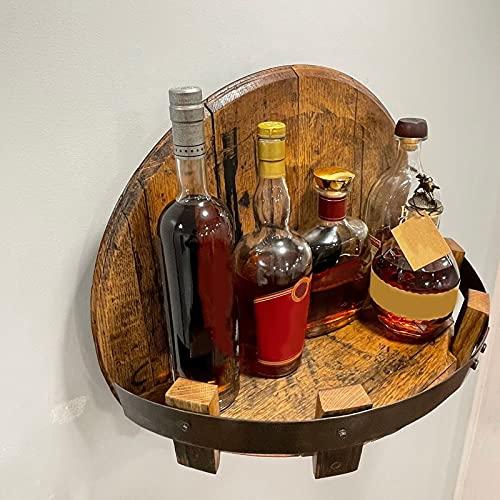 JIJK Weinregal zur Wandmontage, Vintage-Holz-Likörflaschenhalter, handgefertigt, rund, für die Arbeitsplatte, Ständer für Whisky-Organizer, Hängeregale, Bar, Küche, Heimdekoration