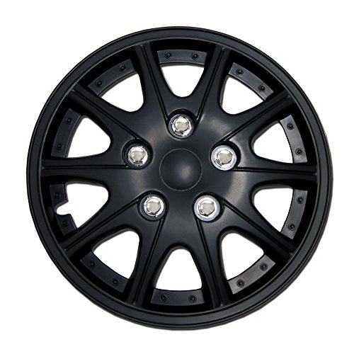 TuningPros WSC-005B14 Hubcaps Wheel Skin Cover 14-Inches Matte Black Set of 4