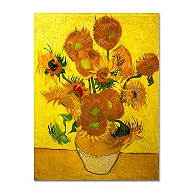 Wieco Art Large Modern Abstract Flowers Giclee Canvas Prints Gallery and Framed Artwork Vase with Fifteen Sunflowers by Van Gogh Oil Paintings Reproduction Pictures on Canvas Wall Art for Home Decor