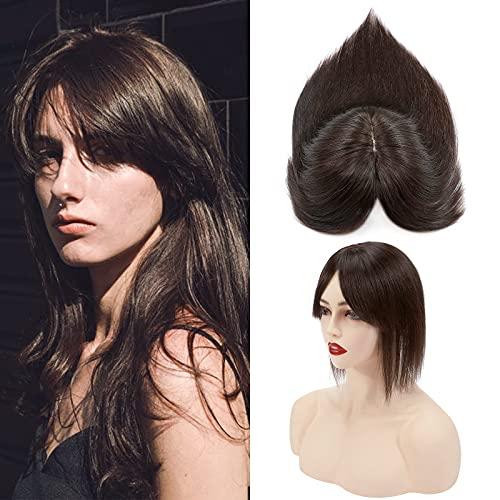 Silk-co Hair Topper Capelli Veri Umani Frangetta Clip in Extension #2 Marrone Scuro Remy Hair 44g Toupet Donna Capelli Umani Brasiliani 35cm