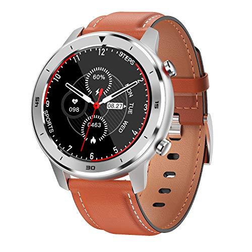YTGOOD DT78 Smart Watch Sports Smartwatch Fitness Pulsera B1.3inch Pantalla táctil Completa 230mAh Batería IP68 Monitor de Salud a Prueba de Agua Banda de Cuero Naranja