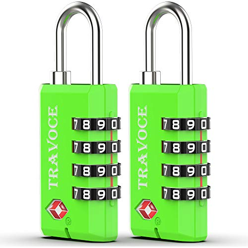 TSA Approved Luggage Locks-4 Digit Open Alert Indicator Tsa locks for Luggage-Travel Combination Locks for Suitcases& Baggage (Green 2 Pack)