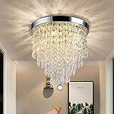 DLLT Lampadario moderno in cristallo K9 con design elegante, rotondo, acrilico, 4 portalampada, bella lampada da soffitto per corridoio, soggiorno, camera da letto, sala da pranzo, hotel, 30 cm