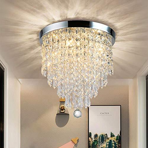 DLLT - Lámpara de araña moderna de cristal K9 con diseño elegante, redonda, acrílico, 4 casquillos, bonita lámpara de techo de cristal para pasillo, salón, dormitorio, comedor, hotel, 30 cm