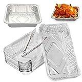 Bandejas de aluminio DBAILY, 20pcs bandejas de hornear desechables una vez bandejas de hornear de aluminio desechables + 1pcs barbacoa alicates cocina para la tienda de cocina congelar alimentos para llevar