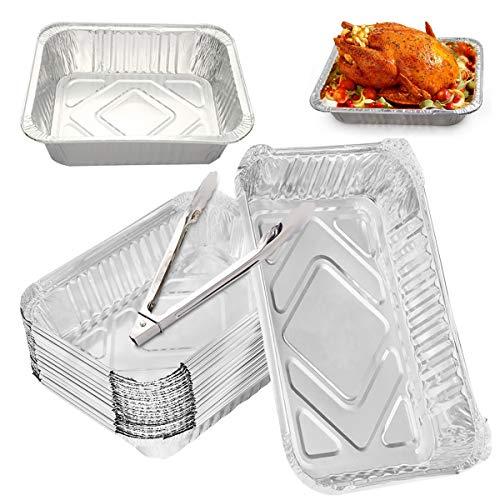 DBAILY Vaschette Alluminio, 20pcs Teglie USA e Getta Una Volta Teglie Alluminio USA e Getta + 1pcs pinze da Barbecue Cucina per Cucinare Conservare Congelare Gli Alimenti Barbecue Asporto